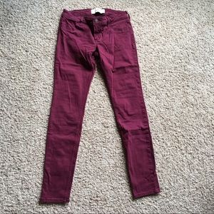 Hollister Barely Worn Maroon Jeans